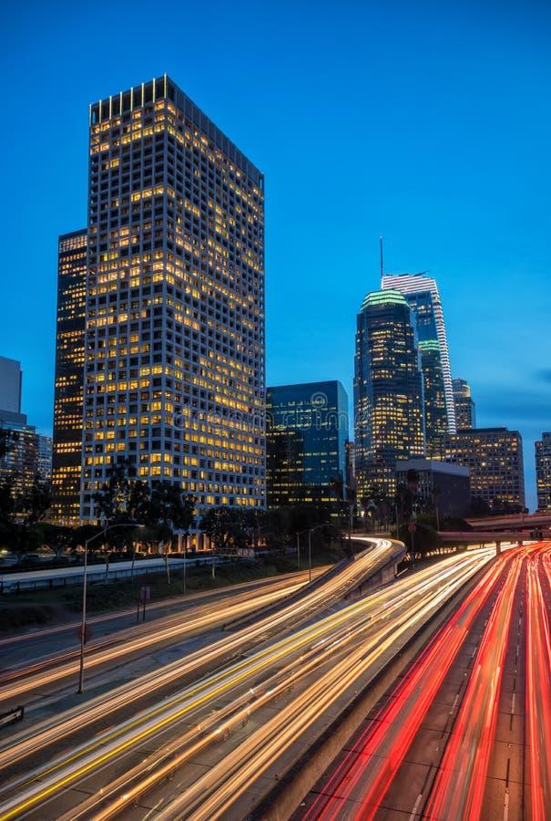 Los Angeles del centro, California, orizzonte di U fotografie stock libere da diritti