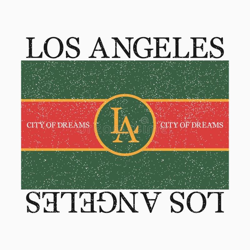 Los Angeles diagram för modet-skjorta med slogan Typografitryck för designkläder och utslagsplatsskjorta vektor vektor illustrationer
