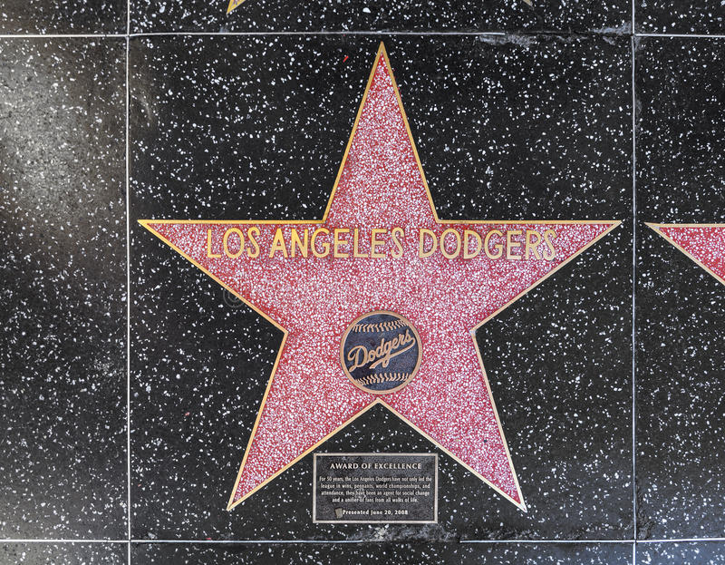 Los Angeles Dodgers Star On Hollywood Walk Of Fame Editorial Stock