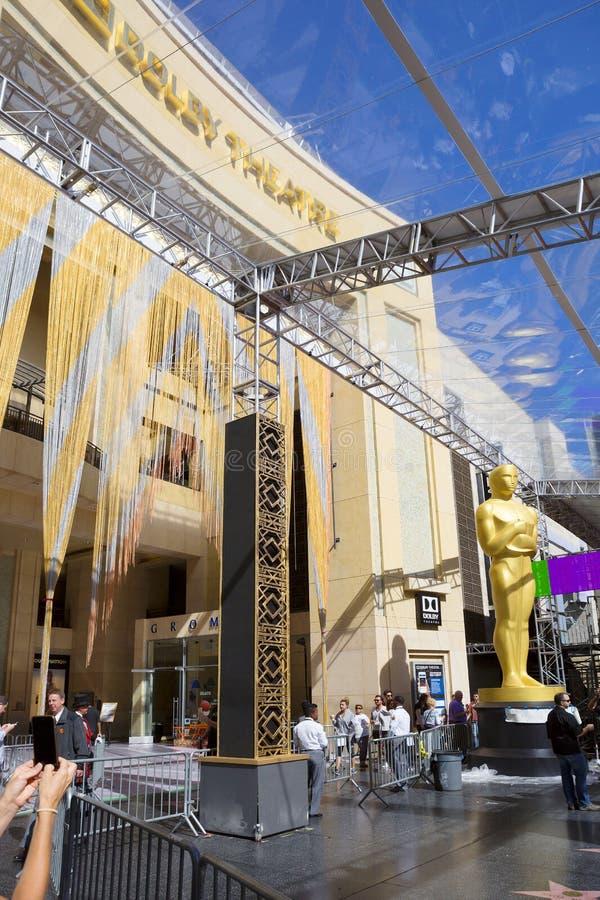 Los Angeles Dolby teater Förbereda sig för ceremonin av att tilldela Oscarsen 2016 arkivbilder