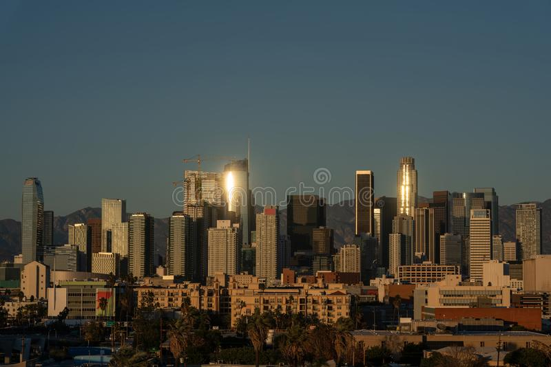 Los Angeles downtown bathing in the sunset light. In California royalty free stock photos