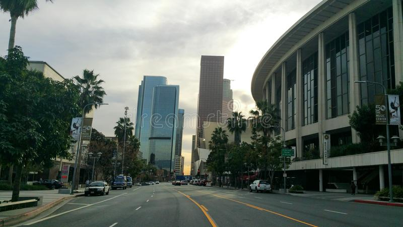 Los Angeles Skyline. Downtown Los Angeles with a beautiful sunset royalty free stock photos