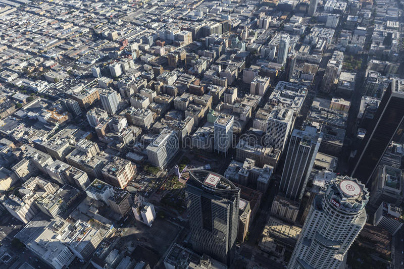 Los Angeles Downtown Historic Core Aerial. Los Angeles, California, USA - August 6, 2016: Late afternoon aerial view of high rise towers and the downtown royalty free stock image