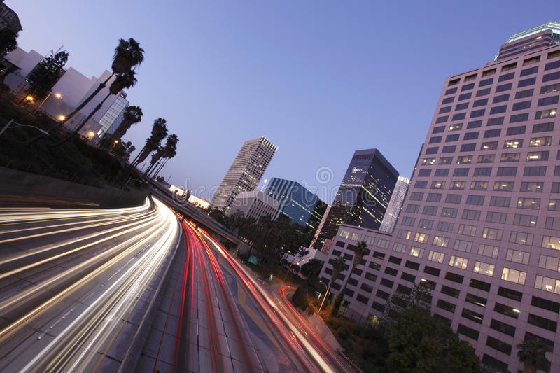 Los Angeles Downtown At Night Stock Photo
