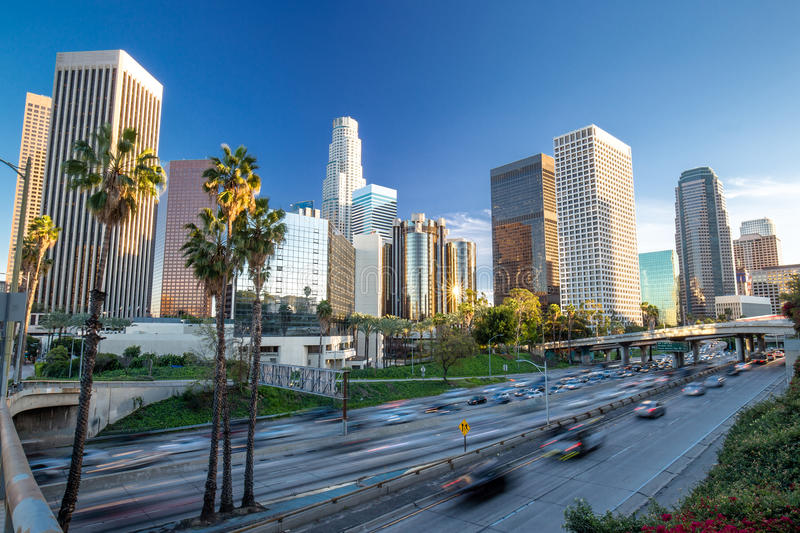 Los Angeles downtown skyline. Buildings and highway traffic royalty free stock photography