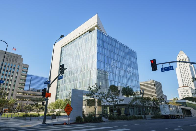 Los Angeles downtown street view. Los Angeles, SEP 24: Downtown street view and the Los Angeles Police Department Headquarters on SEP 24, 2017 at Los Angeles royalty free stock photos