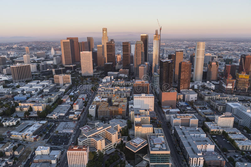 Los Angeles Downtown Sunset Aerial Editorial Photography