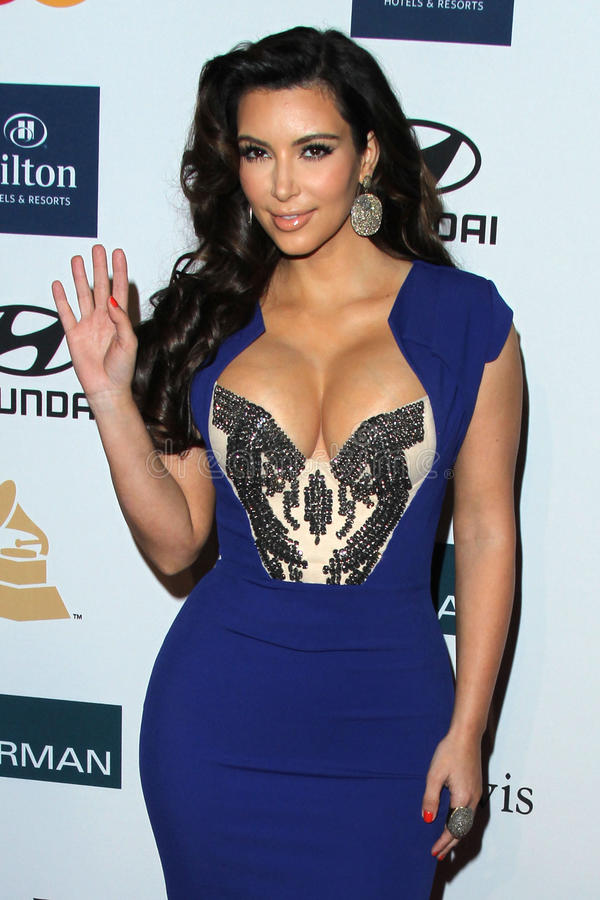 Kim Kardashian. LOS ANGELES - FEB 11: Kim Kardashian arrives at the Pre-Grammy Party hosted by Clive Davis at the Beverly Hilton Hotel on February 11, 2012 in royalty free stock image