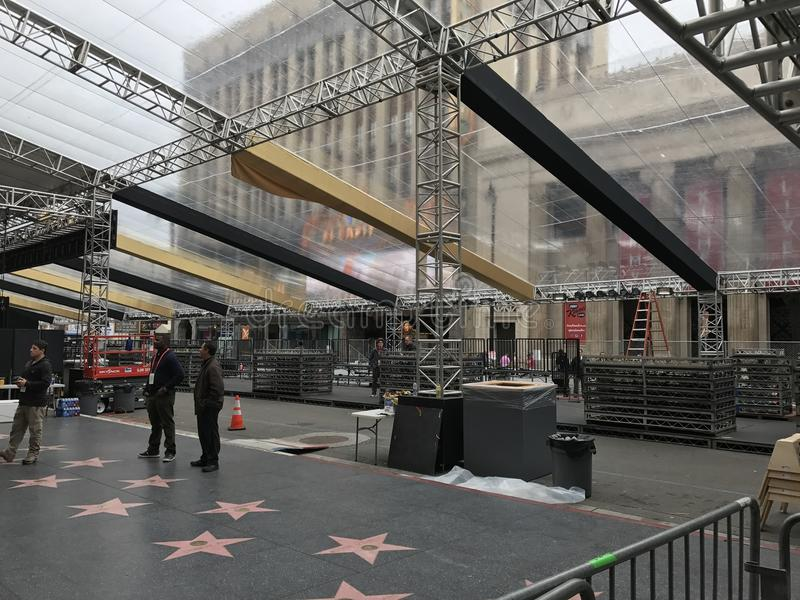 LOS ANGELES - FEB 21: Oscar preparations at the Dolby Theater, 2017 in Hollywood, Los Angeles, California.  stock photography