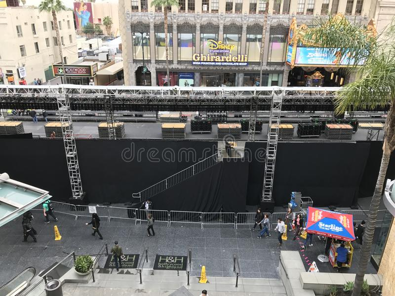 LOS ANGELES - FEB 21: Oscar preparations at the Dolby Theater, 2017 in Hollywood, Los Angeles, California.  royalty free stock photos