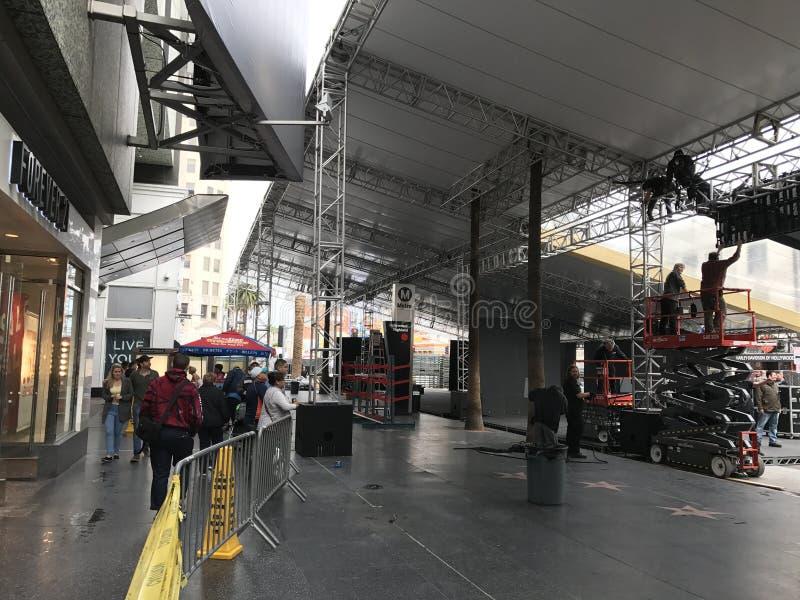 LOS ANGELES - 21 FEBRUARI: De voorbereidingen van Oscar bij het Dolby-Theater, 2017 in Hollywood, Los Angeles, Californië stock foto