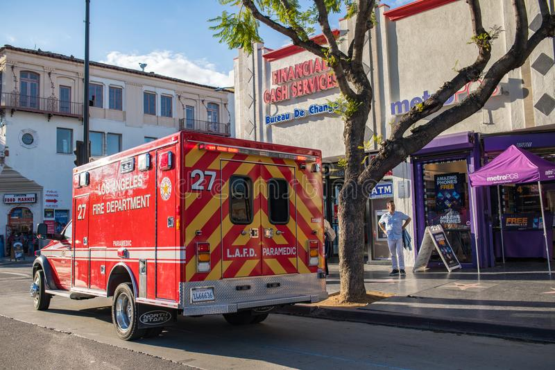 Los Angeles Fire Department ambulance royalty free stock images