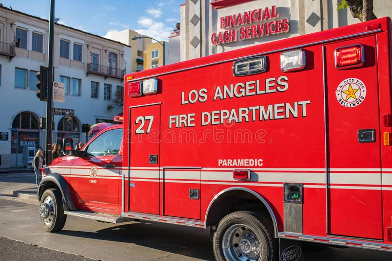 Los Angeles Fire Department ambulance stock images