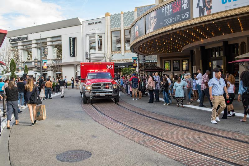 Los Angeles Fire Department ambulance. Los Angeles, CA: May 5, 2018: Los Angeles Fire Department paramedic ambulance truck at The Grove shopping mall. The Los stock photo