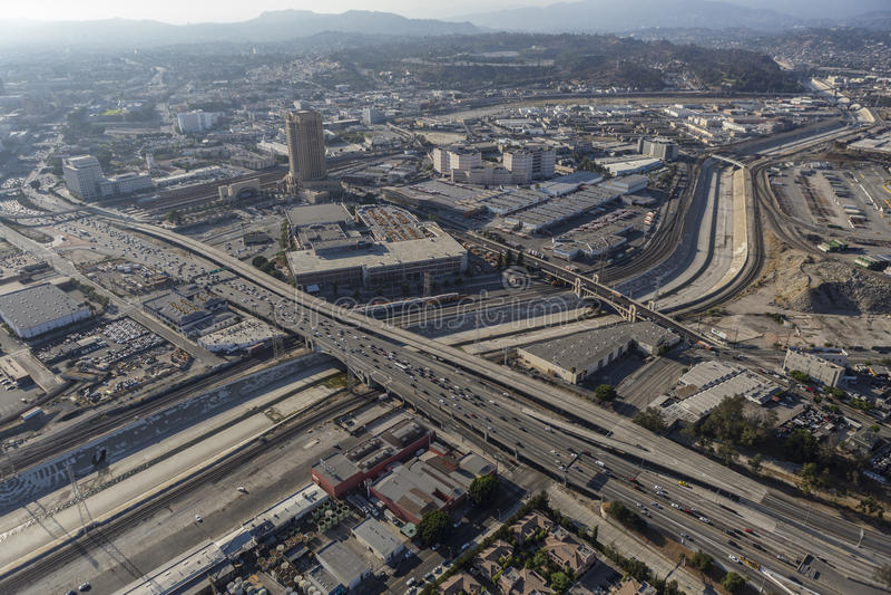 Los Angeles-Fluss-Antenne Boyle Heights stockfoto