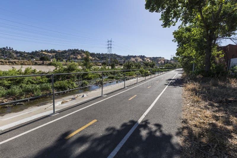 Los Angeles-Fluss-Fahrrad-Weg lizenzfreies stockbild