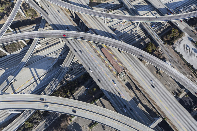 Los Angeles Freeway Bridges and Ramps. Los Angeles, California, USA - August 6, 2016: Harbor 110 and Century 105 freeway interchange aerial south of downtown Los royalty free stock images