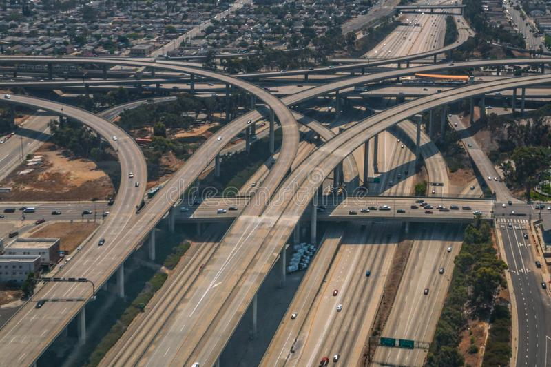 Los Angeles 110 and 105 Freeway Interchange Ramps Aerial. Aerial of Los Angeles 110 and 105 freeway interchange ramps and bridges in southern California stock photography