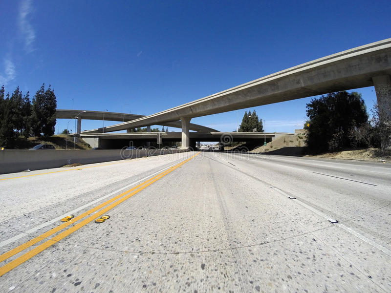 Los Angeles Freeways in San Fernando Valley stock photos