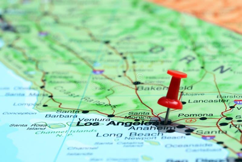 Los Angeles ha appuntato su una mappa di U.S.A. immagine stock libera da diritti