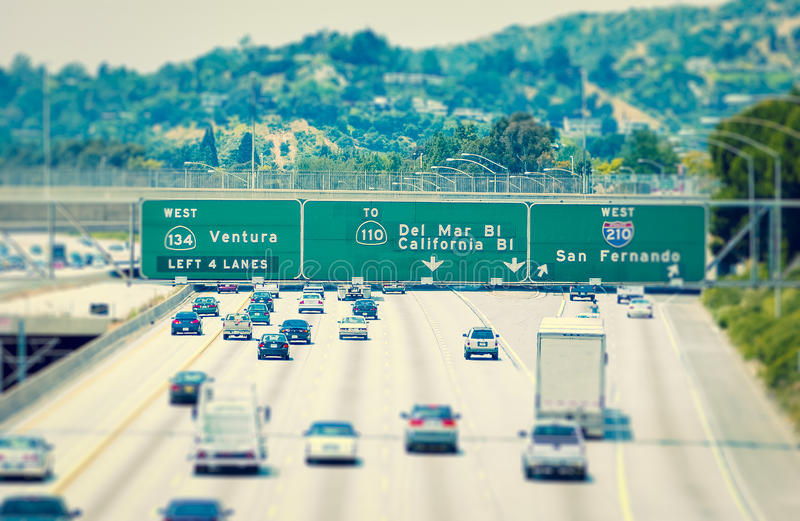 Los Angeles Highway. Signs directing traffic on Los Angeles Highway stock photography