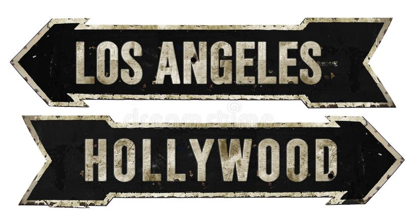 Los Angeles Hollywood Street Sign Grunge Arrow Metal Retro Vintage. Old historic Southern California Movies royalty free stock photography