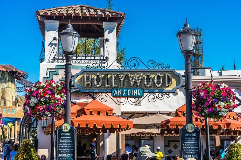 Los Angeles Hollywood, USA - matställen i Universal Studios parkerar arkivbilder