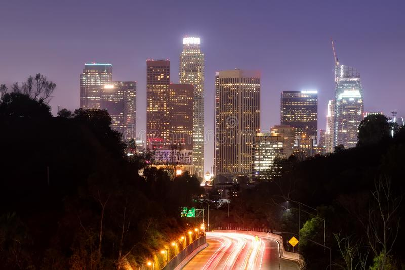 Los Angeles horisont från elyseiskt parkerar royaltyfria foton