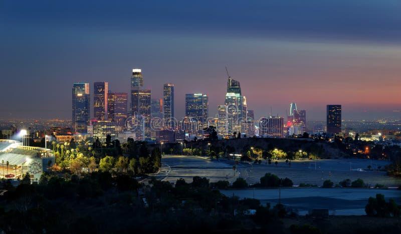 Los Angeles horisont från elyseiskt parkerar royaltyfria bilder