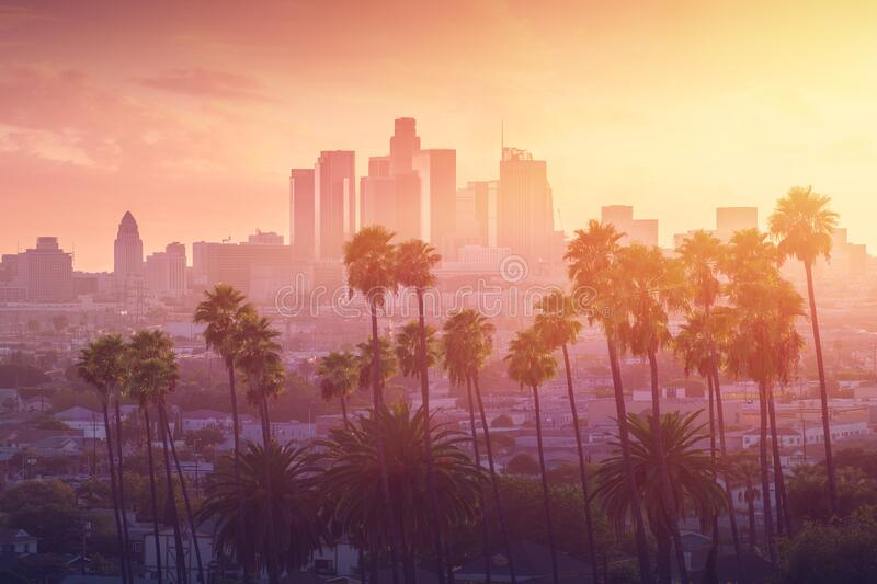 Los Angeles hot sunset view with palm tree and downtown in background. California, USA stock image