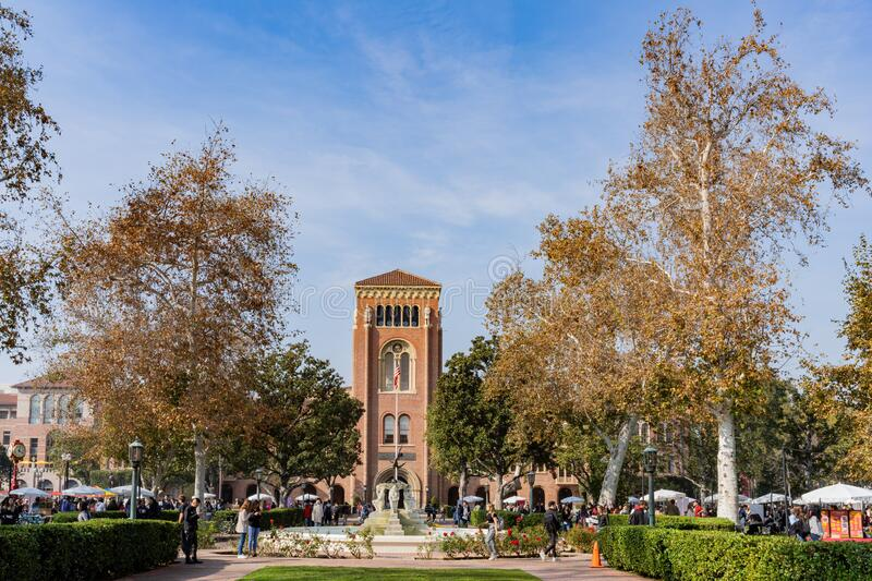 Afternoon sunny view of the Bovard Auditorium of USC. Los Angeles, Jan 15: Afternoon sunny view of the Bovard Auditorium of USC on JAN 15, 2020 at Los Angeles royalty free stock photo