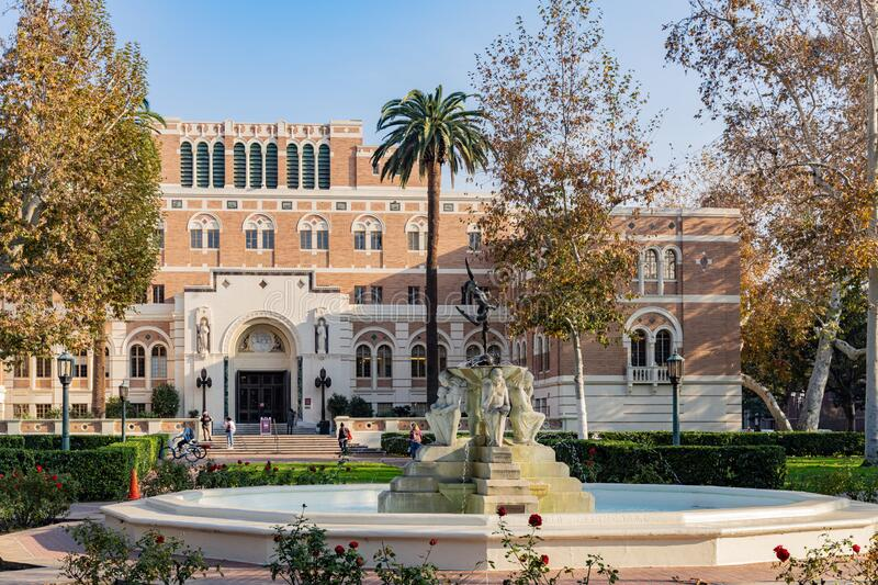 Afternoon sunny view of the Doheny Memorial Library of USC. Los Angeles, Jan 15: Afternoon sunny view of the Doheny Memorial Library of USC on JAN 15, 2020 at royalty free stock photography