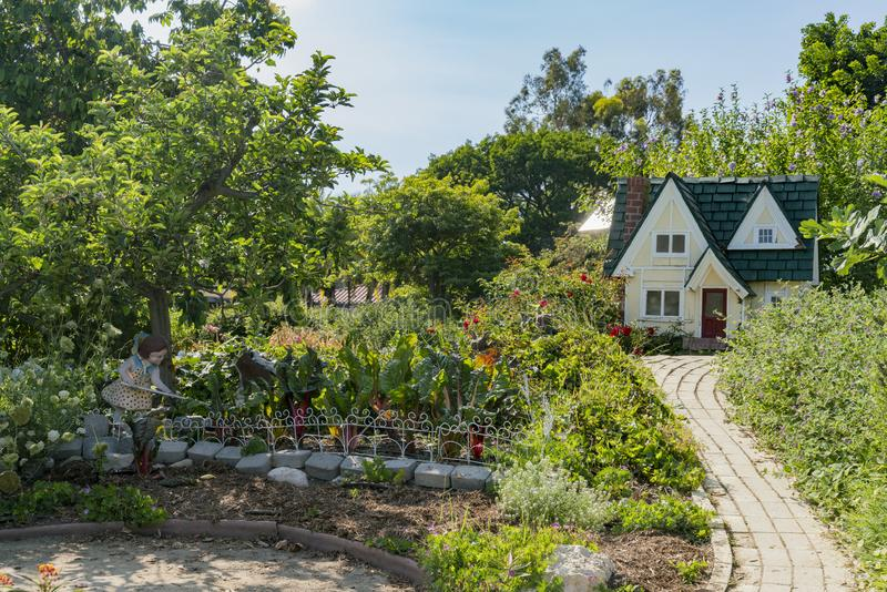 Wooden modal house decoration in South Coast Botanic Garden. Los Angeles, JUL 15: Wooden modal house decoration in South Coast Botanic Garden on JUL 15, 2018 at royalty free stock images