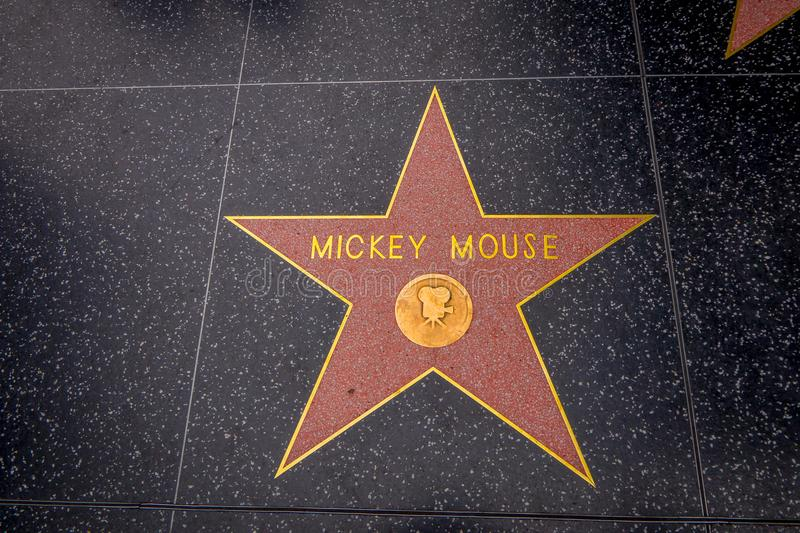 Los Angeles, Kalifornia, usa, CZERWIEC, 15, 2018: Mickey Mouse ` s gwiazda na Hollywood spacerze sława w Hollywood, Kalifornia obrazy stock