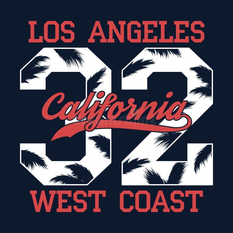 Los Angeles Kalifornien - numrera trycket för t-skjorta med palmträdbladet Västkustentypografidiagram för dräkt, kläder vektor stock illustrationer