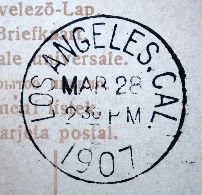 Los Angeles Kalifornien poststämpel 1907 royaltyfria foton