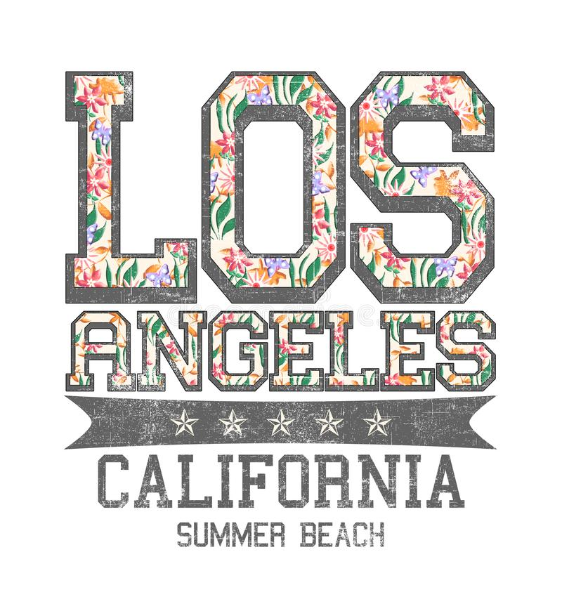 'Los Angeles, Kalifornien, sommarstränders typografi, utslagsplatsskjortautskrift royaltyfri illustrationer
