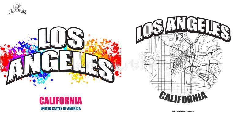 Los Angeles Kalifornien, två logokonstverk stock illustrationer