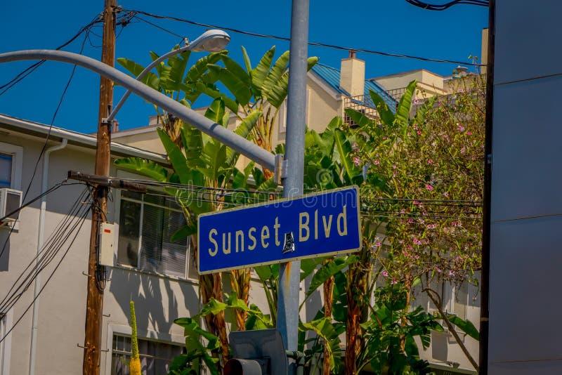 Los Angeles Kalifornien, USA, AUGUSTI, 20, 2018: Utomhus- sikt av tecknet för solnedgångBlvdgata med palmträd i Hollywood royaltyfri bild