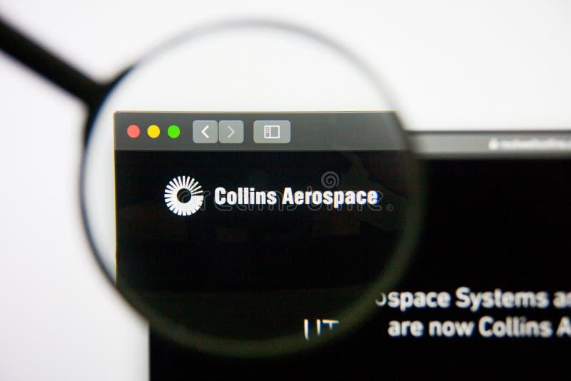 Los Angeles Kalifornien, USA - 14 Februari 2019: Homepage för Rockwell Collins rymdwebsite Rockwell Collins logo royaltyfria bilder
