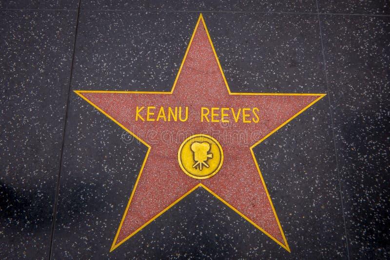 Los Angeles Kalifornien, USA, JUNI, 15, 2018: Den utomhus- sikten av den Keanu Reeves stjärnan på Hollywood går av berömmelse, ut arkivfoton
