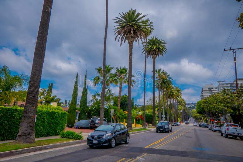 Los Angeles Kalifornien, USA, JUNI, 15, 2018: Palmträdgata i Beverly Hills och bilar som cirkulerar i vägarna av royaltyfri foto