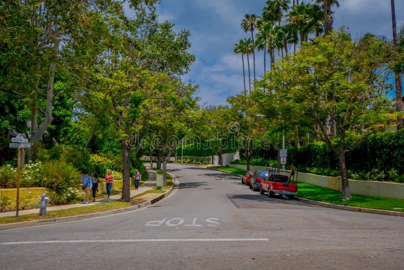 Los Angeles Kalifornien, USA, JUNI, 15, 2018: Palmträdgata i Beverly Hills och bilar som cirkulerar i vägarna av arkivbild