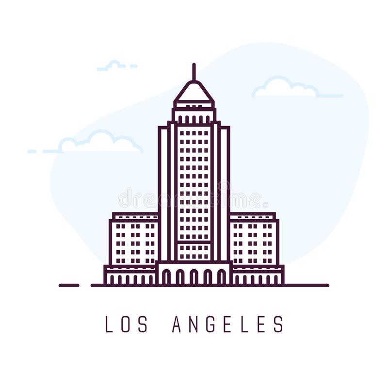 Los Angeles kreskowego stylu budynek ilustracji
