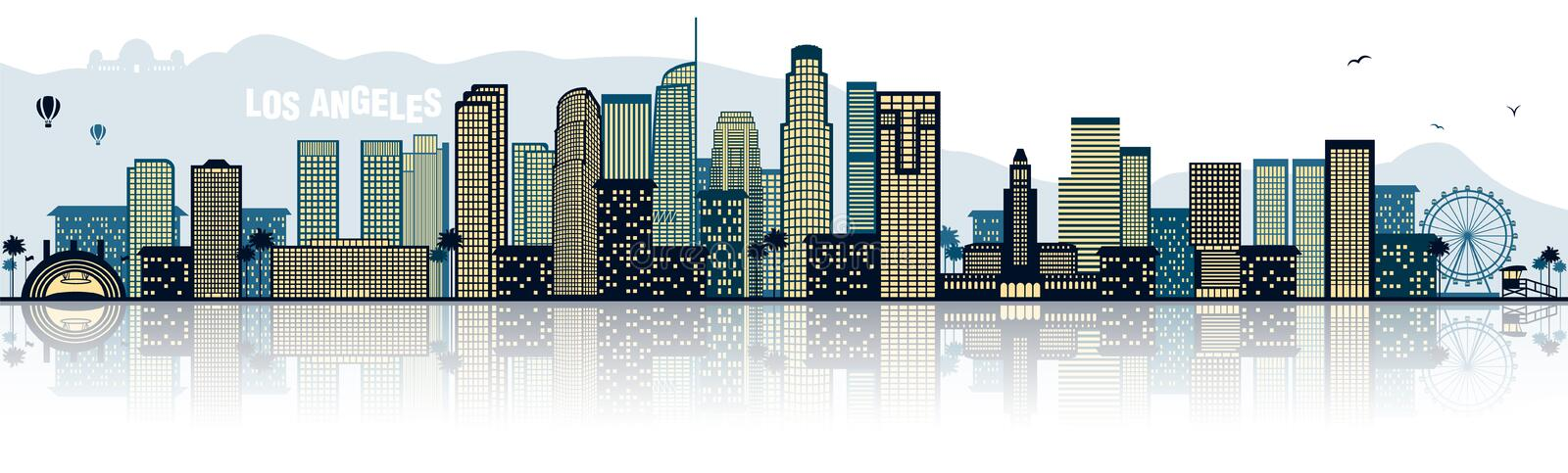 Los Angeles L.A. USA america skyline isolated vector. Design vector illustration