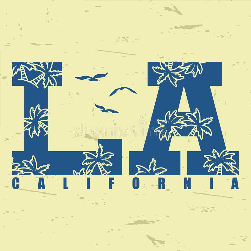Los Angeles La califórnia Gráficos para a cópia do fato do vintage Ilustração do vetor ilustração royalty free