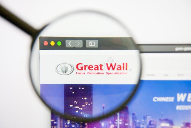 Los Angeles, la Californie, Etats-Unis - 14 février 2019 : Page d'accueil de site Web de moteur de Grande Muraille Logo de moteur photographie stock libre de droits