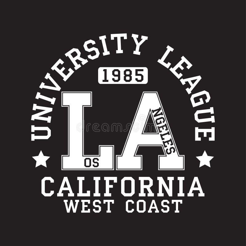 Los Angeles, LA, tipografia de Califórnia para o t-shirt Cópia original do sportswear Tipografia atlética do fato Vetor ilustração royalty free