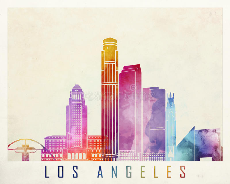 Los Angeles landmarks. In watercolor poster royalty free illustration