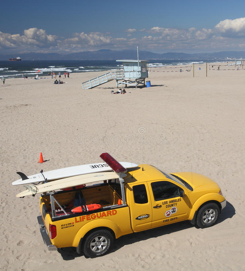 Los Angeles Lifeguard. Los Angeles County Fire Department Lifeguard vehicle parked on Manhattan Beach royalty free stock photo